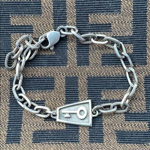VTG Sterling Silver Skeleton Key Chain Bracelet